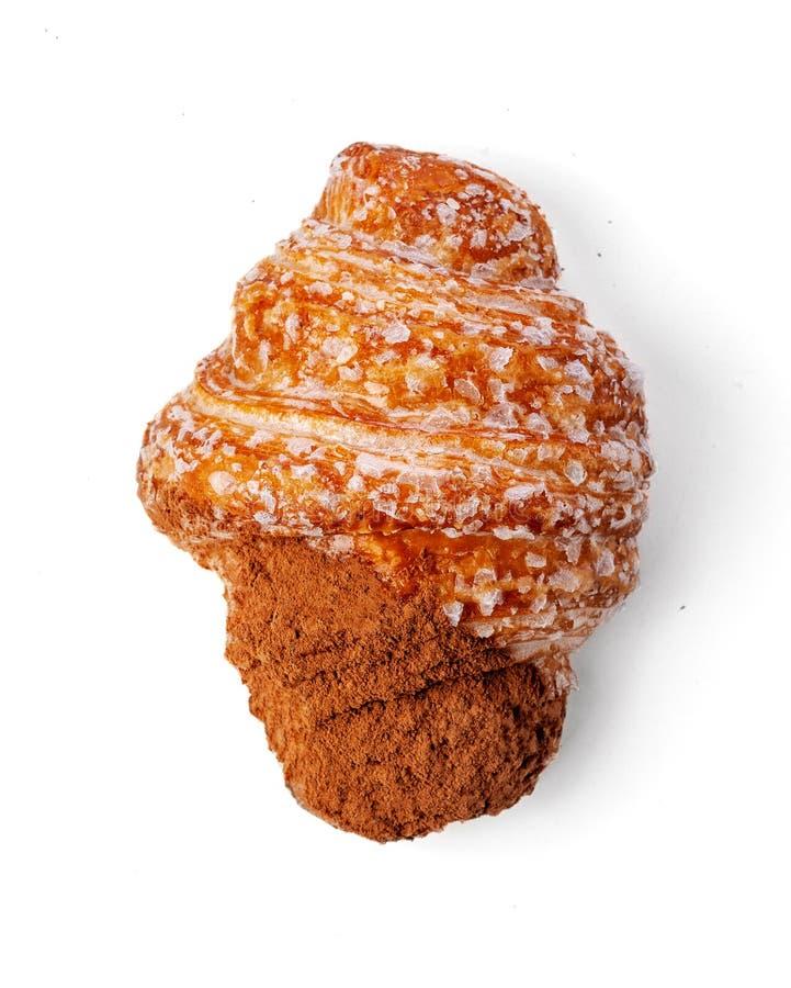 Świeżo Piec Czekoladowy Croissant odizolowywający na białym tle fotografia stock