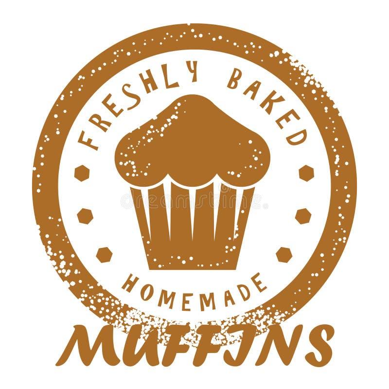Świeżo Piec Muffins znaczek E royalty ilustracja