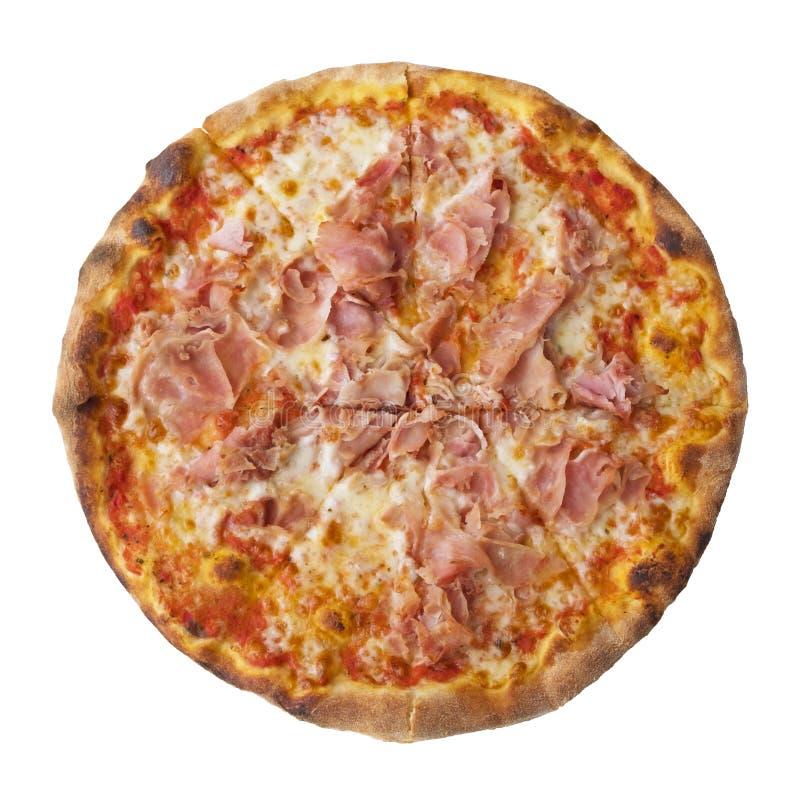Świeżo piec wyśmienicie pizza z baleronem, mozzarella serem i pomidorowym kumberlandem odizolowywającymi na białym tle, sk?adniki obrazy stock