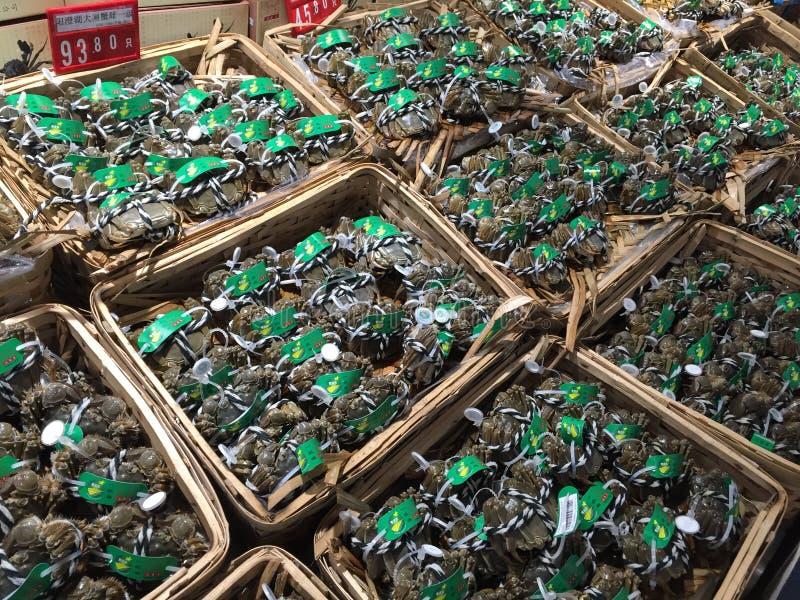 Świeżo Złapany Miękki Shell krab, owoce morza, Szanghaj rynek, Chiny fotografia stock