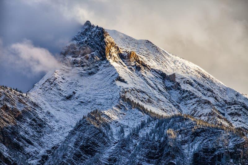 Świeży śnieg na halnym szczycie w Kanadyjskich Skalistych górach, Brytyjski C zdjęcia royalty free