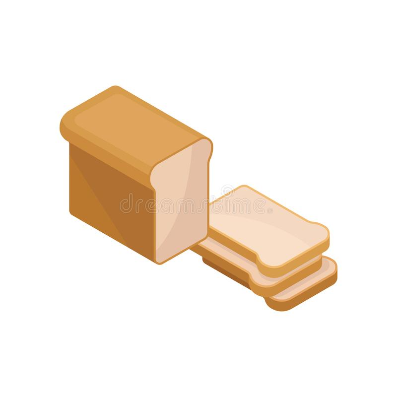 Świeży żyto chleb i trzy rżniętego plasterka Karmowy temat Isometric wektorowy element dla reklamowego plakata lub sztandaru piek ilustracji