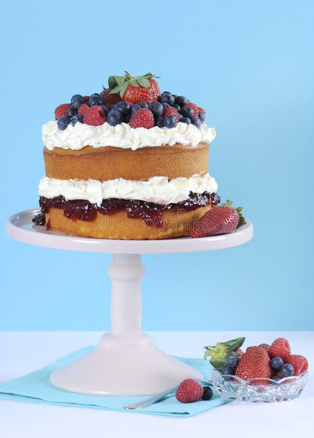 Świeży batożący śmietanki i jagody warstwy gąbki tort na menchia torta stojaku zdjęcia stock
