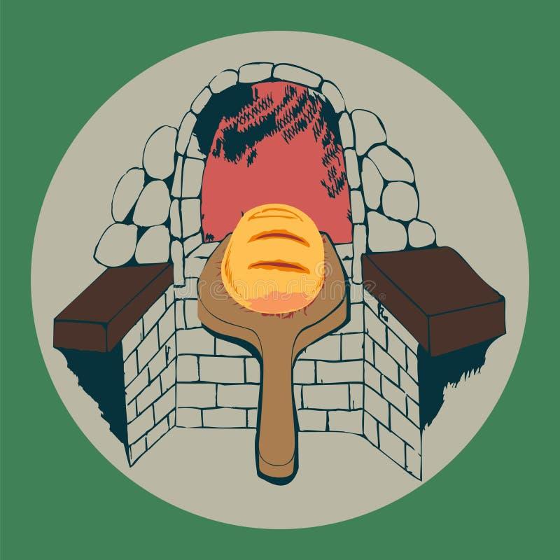 Świeży bochenek chleb i chlebowy piekarnik ilustracji