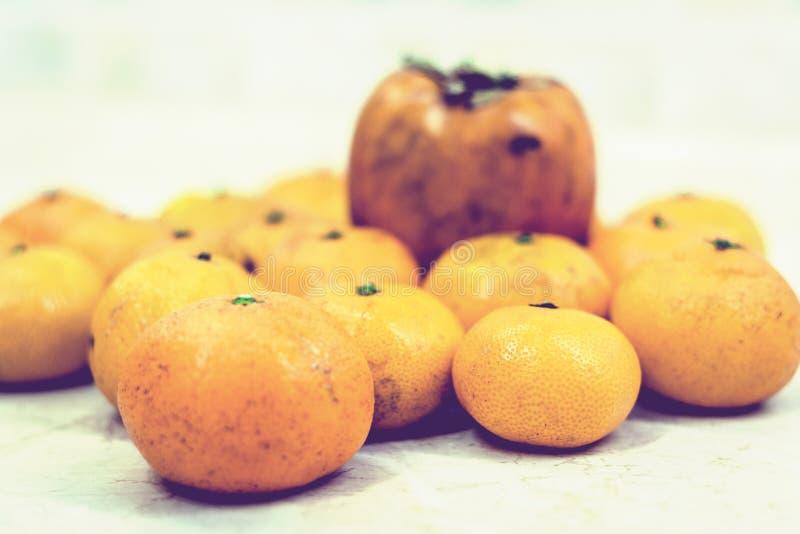?wie?y ca?y mandarynek pomara?cz t?o z Persimmon fotografia stock