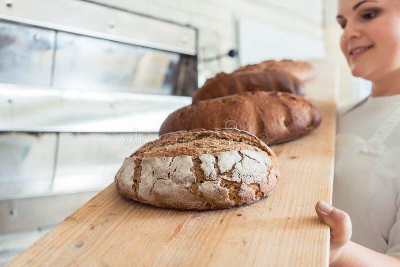 Świeży chleb na desce w bakehouse piekarnia zdjęcia royalty free