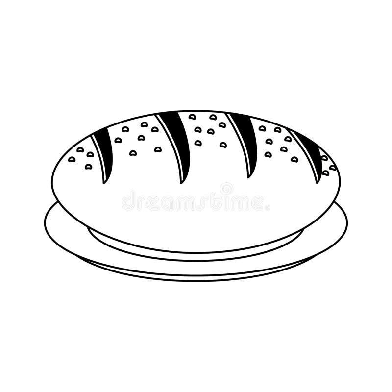 ?wie?y chleb na naczyniu w czarny i bia?y royalty ilustracja