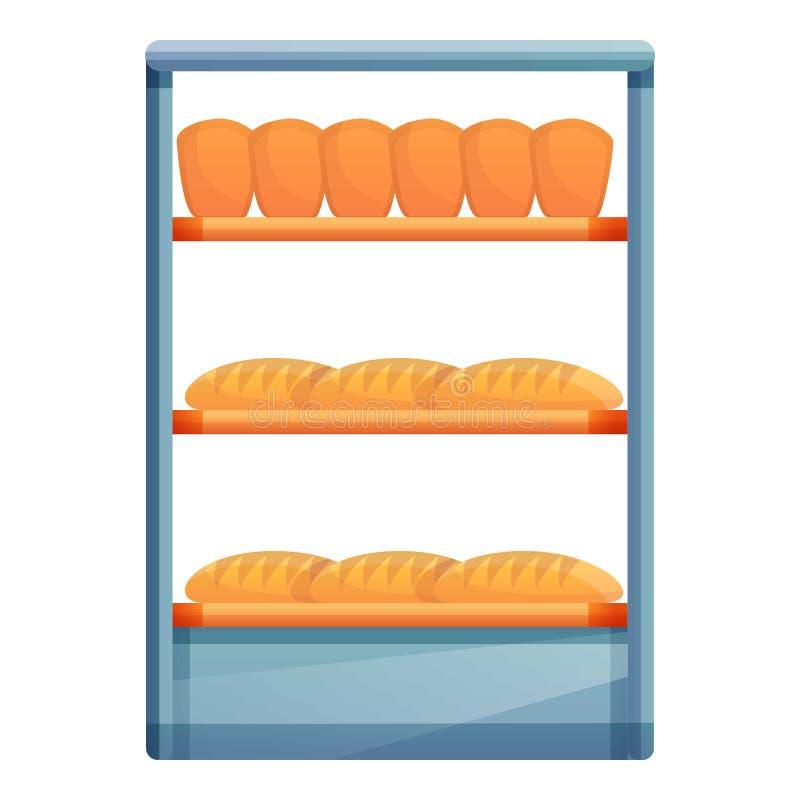 Świeży chleb na szelfowej ikonie, kreskówka styl royalty ilustracja