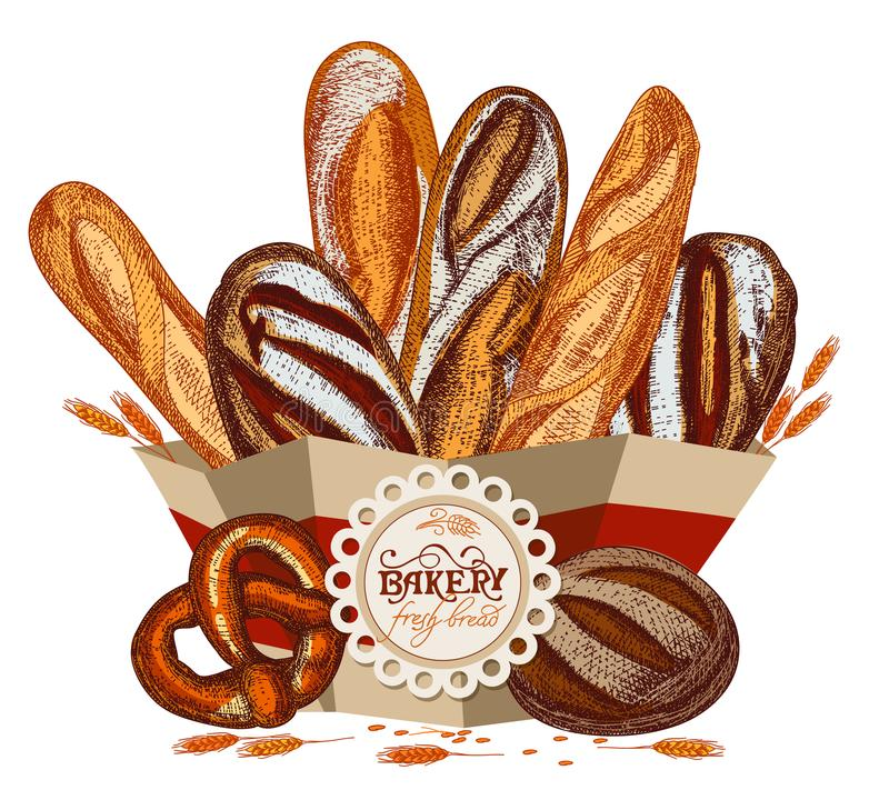 Świeży chleb w pakunku royalty ilustracja