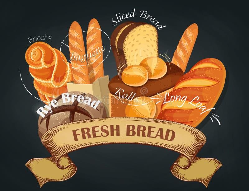 świeży chleb Wypiekowy sklepowy emblemat Chlebowy logo dla piekarnia sklepu Oznakować, etykietka, sztandar, asortyment wektor ilustracji
