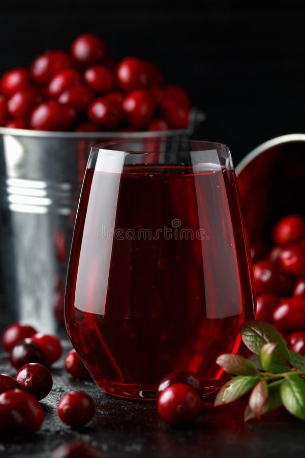 Świeży Cranberries sok w szkle Świeżo robić, organicznie, wieśniaka styl zdjęcie stock