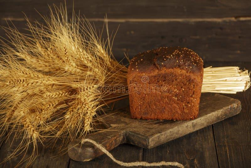 Świeży domowej roboty chleb z całym pszenicznym kolcem na czarnym drewnianym tle Świeży chleb z ucho banatka obrazy stock