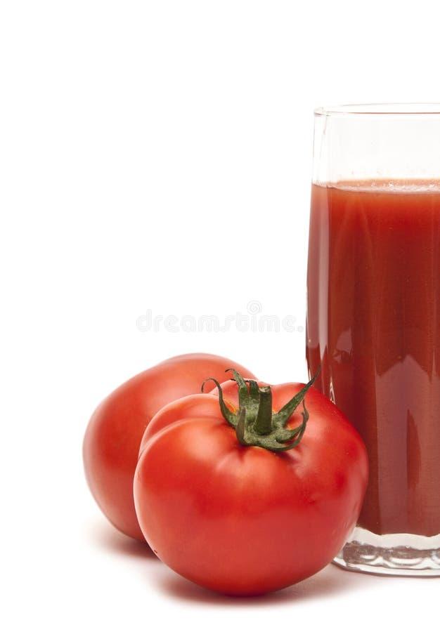 świeży folował szklanych soku pomidoru pomidory zdjęcie stock