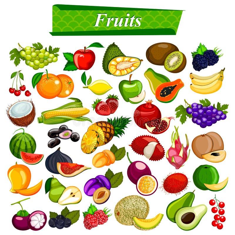 Świeży i odżywczy owocowy ustawiający wliczając jabłka, pomarańcze, winogrona, koks, jagoda ilustracji