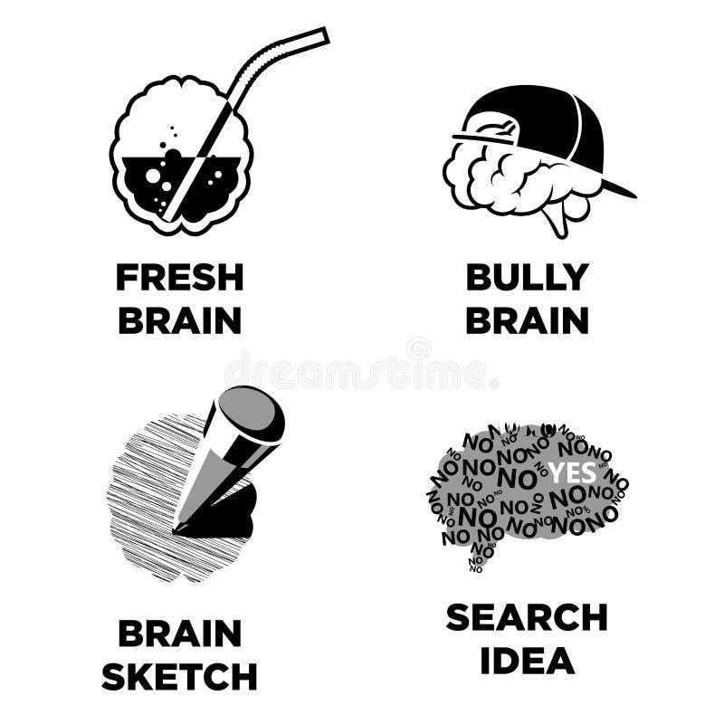 Świeży i znęcać się nakreślenie mózg, rewizja pomysł odizolowywający wektor royalty ilustracja