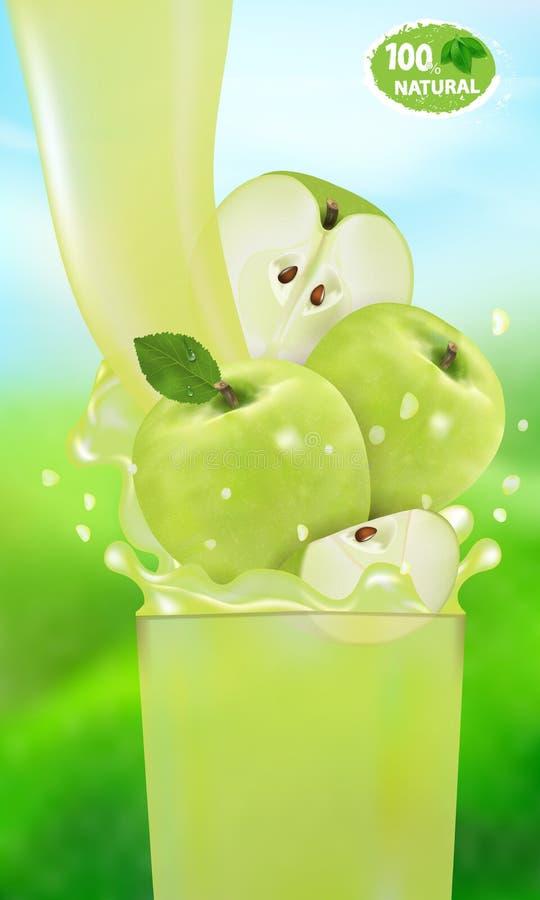 Świeży Jabłczany sok z pluśnięciem Przepływ ciecz z kroplami i słodka owoc 3d realistyczna wektorowa ilustracja na tle ilustracji