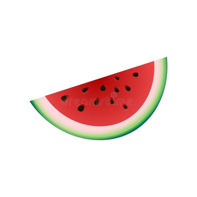 Świeży kawałek czerwony arbuz, lata zimna owoc ilustracja wektor