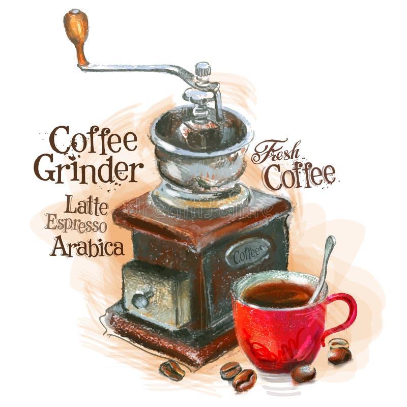 Świeży kawowy wektorowy loga projekta szablon ostrzarz royalty ilustracja