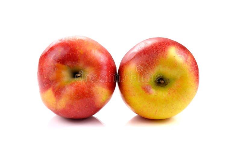 Świeży koloru żółtego jabłko na białym tle fotografia royalty free