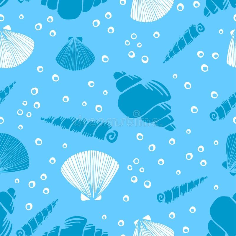 Świeży kreatywnie abstrakcjonistyczny morski bezszwowy wzór Dennego życia tło z koralami, denna gwiazda, łuska i gulgocze ręka pa ilustracja wektor