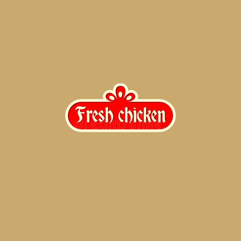 Świeży kurczaka logo Wieśniaka stylu znak Logo jako czerwona rocznik postać ilustracja wektor