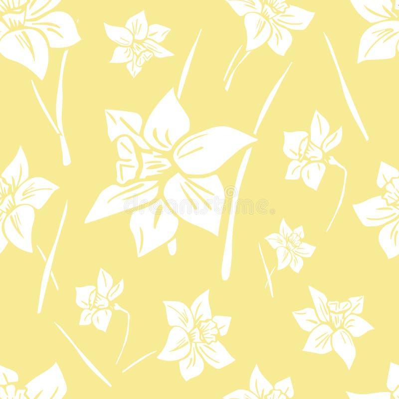 Świeży Kwiecisty Bezszwowy wzór z Daffodils ilustracji