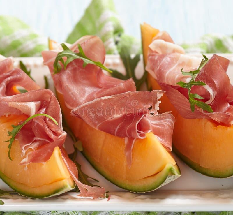 Świeży melon z Prosciutto obraz royalty free