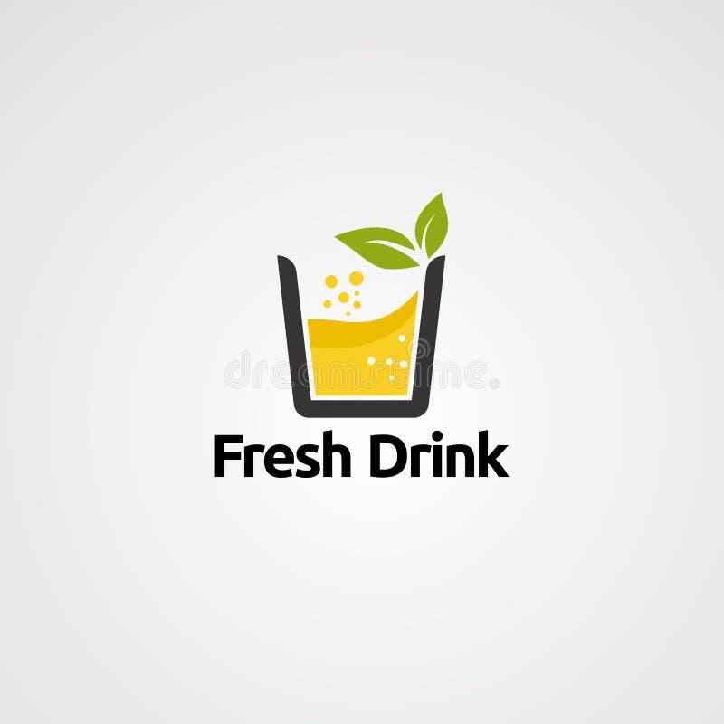 Świeży napoju logo wektor, ikona, element i szablon, ilustracja wektor