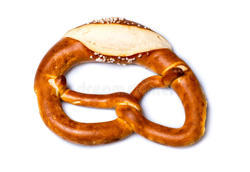 Świeży Niemiecki precel na bielu (Bretzel lub Bretze) obraz stock