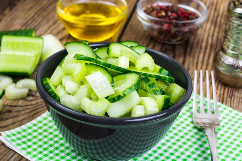 Świeży ogórek, badyle seler dla zdrowego jedzenia, dieta menu zdjęcia stock