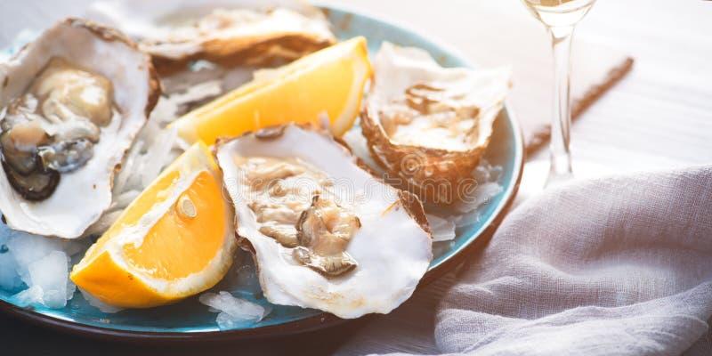Świeży ostrygi zbliżenie, słuzyć z ostrygami, cytryną i lodem, Zdrowy owoce morza Ostrygowy go?? restauracji w restauraci obraz royalty free