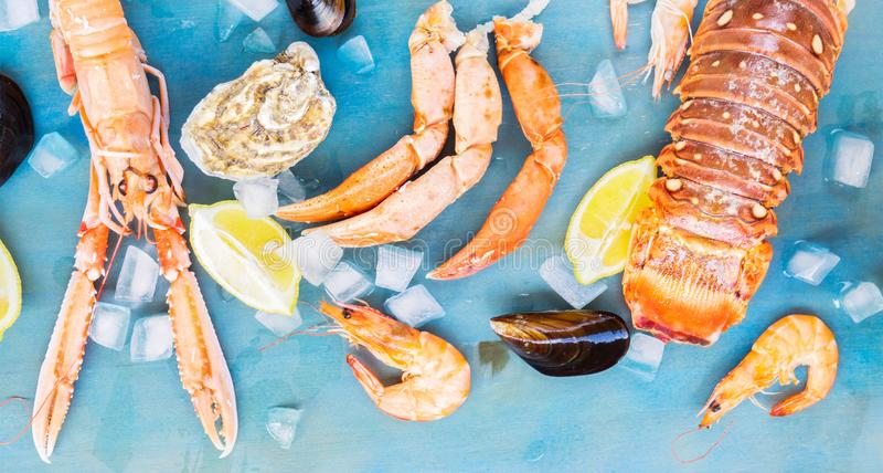 Świeży owoce morza na błękitnym tle obraz stock