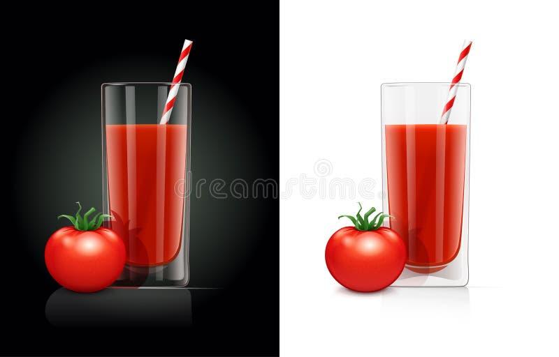 Świeży pomidorowego soku szkło z drymbą royalty ilustracja