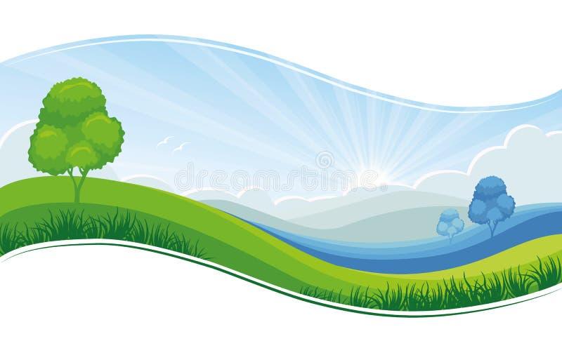 Świeży ranku lato lub wiosna krajobraz, zielona łąka, niebieskie niebo - wektorowy tło royalty ilustracja