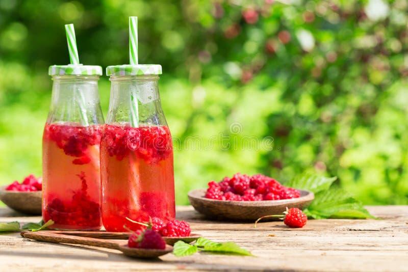 Świeży słodki malinki witaminy smoothie soku napój w butelkach zdjęcie royalty free