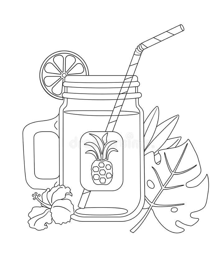 Świeży sok tropikalne owoc w szklanej butelce z tubką dla pić Artykuły dla napojów dekorował z kwiatami o i liśćmi ilustracja wektor