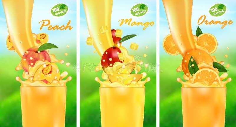 Świeży soku mango, pomarańcze, brzoskwinia i pluśnięcie, Przepływ ciecz z kroplami i słodką tropikalną owoc 3d realistyczną wekto ilustracji