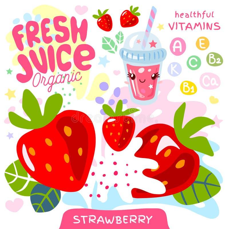 Świeży soku organicznie szkła kawaii śliczny charakter Truskawkowa jagodowa jagoda jogurtu smoothies filiżanka r?wnie? zwr?ci? co royalty ilustracja