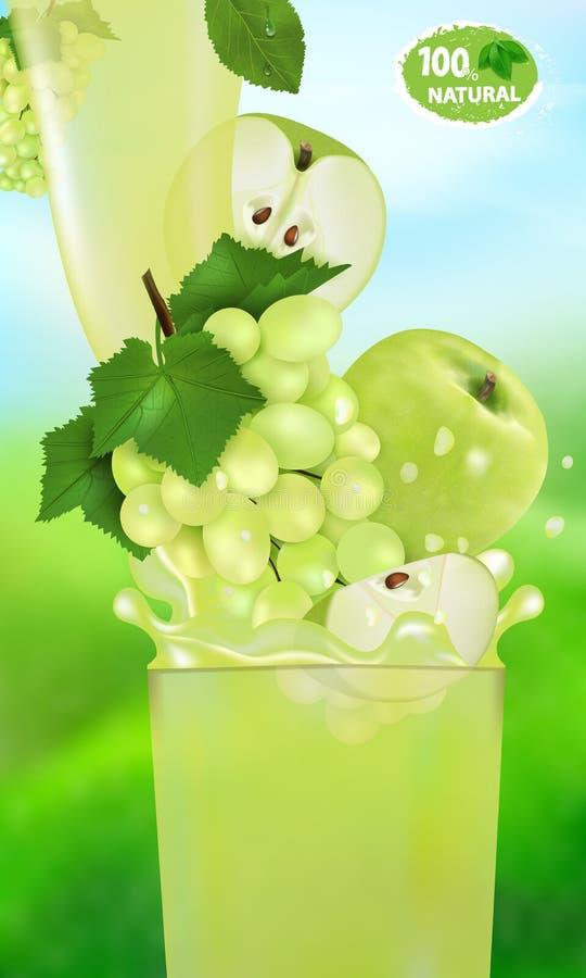 Świeży soku winogrono, Apple z pluśnięciem i Przepływ ciecz z kroplami i słodka owoc 3d realistyczna wektorowa ilustracja na ilustracji