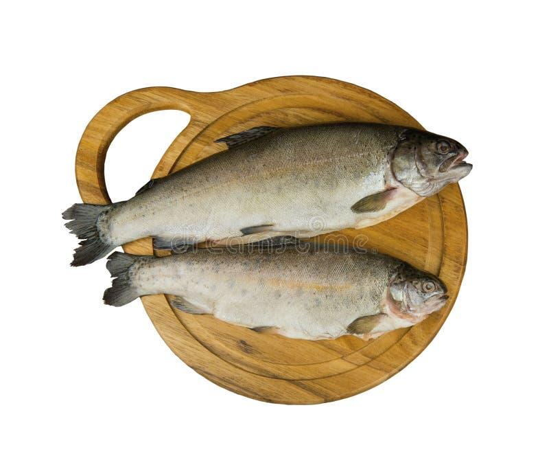 Świeży surowej ryba pstrąg jest dwa kawałkami na desce zdjęcia royalty free