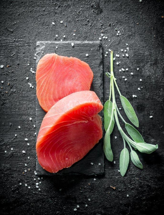 Świeży surowy tuńczyk na kamiennej desce z sprig szałwie obraz stock