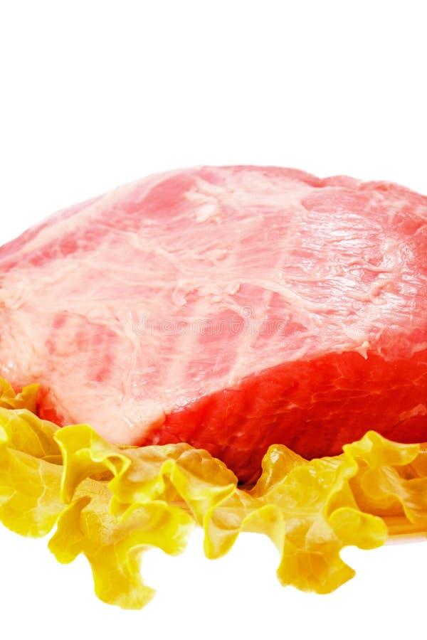 Świeży surowy wieprzowiny mięso, sałatka odizolowywający na bielu i fotografia stock