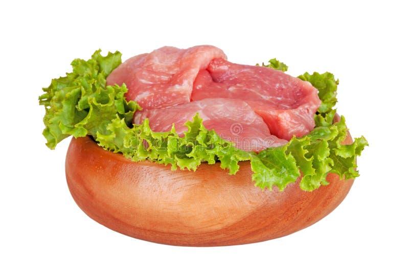 Świeży surowy wieprzowiny mięso, sałatka odizolowywający na bielu i obrazy royalty free