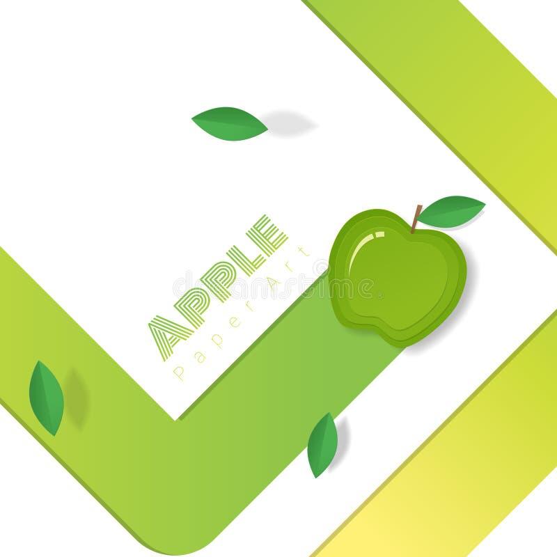 Świeży zielony jabłczany owocowy tło w papierowym sztuka stylu ilustracji