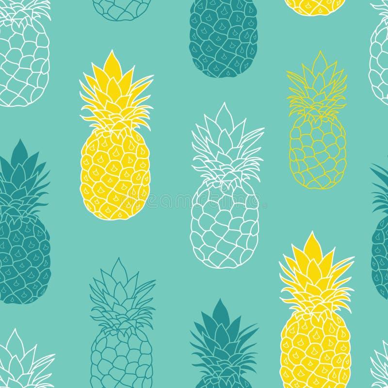 Świeżych Błękitnej zieleni Żółtych ananasów Wektorowa powtórka Bezszwowy Pattrern wielki dla tkaniny, pakujący, tapeta, zaproszen ilustracja wektor