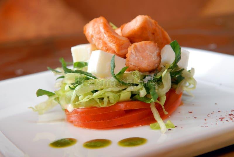 świeżych kawałków sałatkowi łososiowi warzywa zdjęcia royalty free
