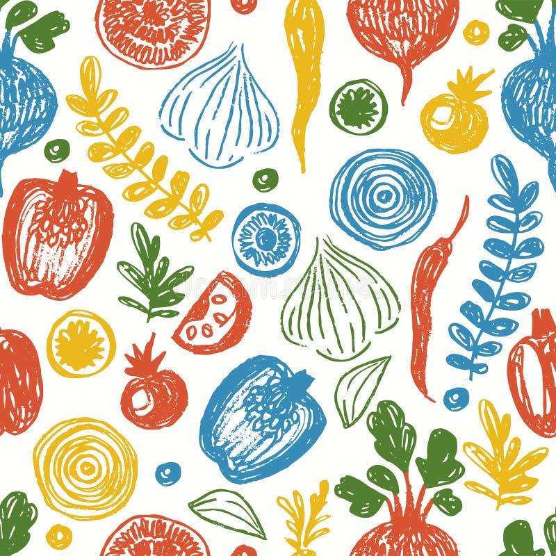 Świeżych warzyw Bezszwowy wzór Szkicowej zabawy łasowania zdrowy tło ilustracji
