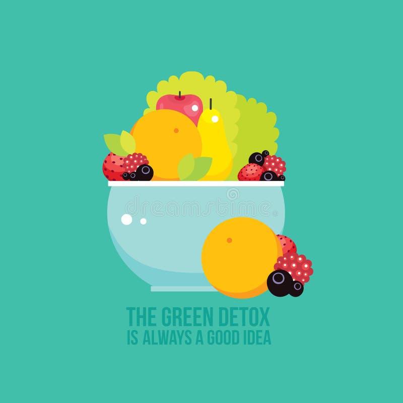 Świeżych warzyw zieleni owoc jagody rzucają kulą kolorowego tło ilustracja wektor