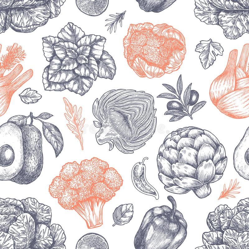 Świeżych zielonych warzyw bezszwowy wzór Handsketched rocznika warzywa modna akcesoria sztuka ilustraci jej linia kobieta również royalty ilustracja