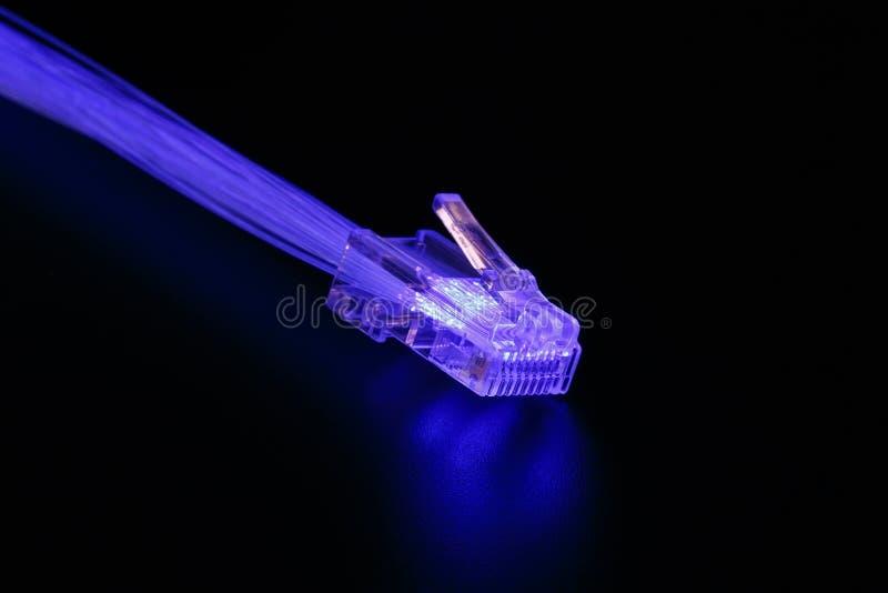 Świecące włókno światłowodowe linie, włącznik i obraz stock
